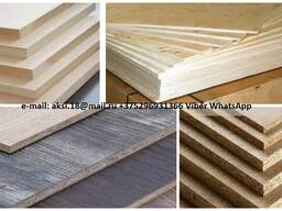 Chipboard, laminated chipboard, MDF, HDF, Plywood.
